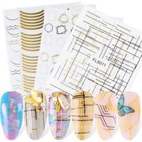 Oro linee Nail Art Adesivi etichette autoadesive geometrica Super sottile Gold Line irregolare decorazione forma del chiodo di DIY