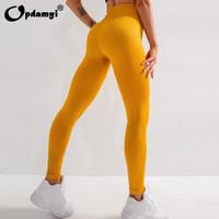 Roupas de Yoga 2021 Leggings Mulher Cintura Alta Poder Flex Controle de Barriga Esporte Treino Running Fitness Sports Stretch Calças Sem Emenda
