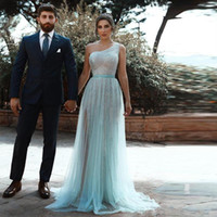 Disse Mhamad Ice Blue One Shoulder Lantejoulas Vestidos Prom overskirts colaterais Dividir Tulle formais Vestidos Vestidos Ogstuff Vestidos Robe