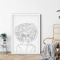 Abstract Art Pared afro mujer del dibujo lineal de la cara Pintura Retrato al óleo sobre lienzo minimalista impresiones del cartel cuadros de la pared Dormitorio Decoración