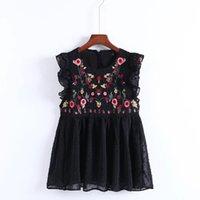 YSMILE Y Kadınlar Sweet Kolsuz Ruffles Çiçek Nakış Bluz Moda Kadınlar Yaz O kolye Avrupa blusas Tops