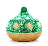 3D szklany dyfuzor oleju eterycznego, 400 ml nawilżacz zapachowy ziarna drewna z regulowanym trybem mgły, bezwodne automatyczne odcinanie i 7 kolorów