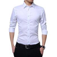 Camisas de vestido dos homens Marca Outono Manga Longa Slim Fit Coloque Sólido Collar Smok-Down Camisa Negócios Homens formais Big Torne 3xl