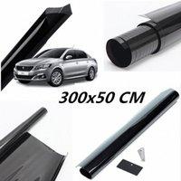 50cmx300cm Negro oscuro del coche tinte de la ventana de cristal de la película VLT 5% Rollo 1 capa de aislamiento sombrilla del coche a prueba de explosiones de la pantalla de protección solar Sol para Ca dP2n #