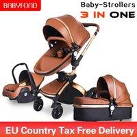 1 lüks Babyfond 3 arabası iki yönlü katlanabilir, dört tekerlekli bir bebek Yenidoğan Pram deri alüminyum alaşımlı çerçeve katlanabilir bebek arabası