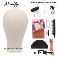 Perücke machen Kit Perücke-Standplatz mit Kopf Bald Manequin Kopf T Pins Perücke Kämme Hair Tools für Frauen Diy Perücken Baumaterial Hair Clips CX200716