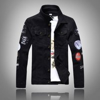 New Fashion Designer Mens Denim Jacket Magro Men Jean Jacket sólida Masculino Jean Jackets Men Cowboy Exteriores Roupa Hip Hop Coats Streetwear
