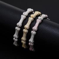 Haute Qualité neuve pleine de bijoux en zircone Bijoux Bone Collier en forme d'os Hommes et femmes Bracelet de personnalité de la mode hip hip hop