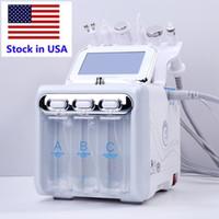 Stok ABD 6 in 1 hidradermabrazyon cilt temizleme rf soğutma çekiç ultrasonik oksijen sprey spa yüz makine