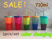 Farbe 710ml Temperatur ändern Cup Plastikbecher Kaltes Getränk Flasche mit Strohhalm und Deckel Magic Trinkbecher Sommer Trinkgefäße