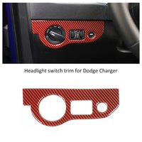 ABS Car Left Headlight Switch Button Trim Red Carbon Fiber f...