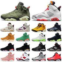 Nike Air Jordan 6 6s Retro Travis Scott 6 zapatos de Jumpman para mujer para hombre del baloncesto infrarrojos Negro Gatorade Carmine Formadores zapatillas de deporte 13