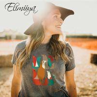 Elimiiya été d'oiseau coloré Imprimer la mode T-shirt Vêtement Harajuku T-shirt précarisés Top Vêtements Streetwear