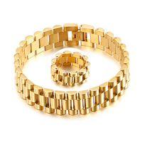 15mm homens mulheres de aço inoxidável relógio banda pulseira pulseira relógio pulseira pulseira pulseiras anéis ouro hiphop pulso cinta link jóias