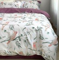 Ensembles de literie Moderne Coloré Ensemble Teen, Complet Queen King King Coton Vintage Bird Bird Double Home Textile Bedsheet Taie d'oreiller Couverture de couette
