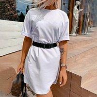 Yaz Kadın Gömlek Mini Elbise Kayışlı Beyaz Sport Kısa Kollu Casual Bayan Elbise 2020 Moda Streetwear Bayanlar vestidos