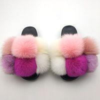 Furry Diapositives pour les femmes d'été Fluffy Chaussons Maison femmes Big Fur Femme Sandales Mode Femme intérieur Tongs Avec Pompon