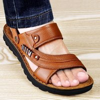 Men' s Beach Shoes Sandals Cow Quality Genuine Leather N...