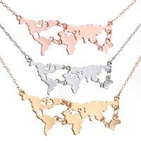 Mundo Atlas Mapa do Mundo Colar Pingente de Prata Rose Gold Pingentes Preto Gargantilha Para As Mulheres Moda Jóias