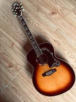 Neue Großhandelsankunft BROUSSJN SJ200 Modell Akustikgitarre Maß Massivholz In Sunburst