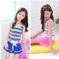 لطيف طفل الفتيات ملابس الصيف أكمام اللباس نمط قطعة واحدة ملابس البيكينيات المايوه بحر الأطفال ملابس السباحة 2 اللون