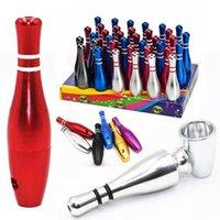 Großhandel 79mm Bowling Flasche Bullet Metallfilter Rauchpfeifen Buntes Tabak-Rohr mit Halter Mini Kleinen Fliter Handrohr