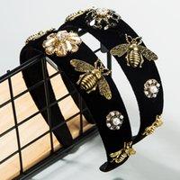 Cour de cheveux Court Femme Women Baroque Wind Head Heart Hoop Bee Edge Edge Gold Velvet Tête Tête Connectes