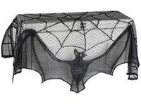 Хэллоуин черного кружева занавес Камин Ткань черного кружева Bat паук крышки сетки Плита Скатерть занавес Домашнее украшение Ткань Винный погреб