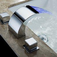 SKOWLL Temperatura controlada del grifo agua del grifo de baño LED grifo de la cascada Baño Mixer HG-1182DC T200710