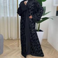 Etnik Giyim Açıldı Abaya Kimono Kaftan Kadife Müslüman Hırka Başörtüsü Elbise Kadın Türk İslam Kaftan Dubai Djellaba F1352