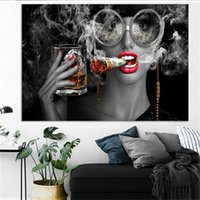 USD Dollars Wall Art Pictures Modern Black Smoking Girl Canv...