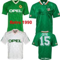 1990 1992 태국 아일랜드 레트로 축구 유니폼 빈티지 축구 셔츠 아일랜드 국가 대표단 유니폼 90 월드컵 키트 그린 화이트