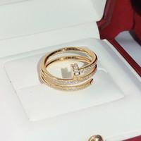 Серебро 925 Горячие бренды винт моды гвозди Золотые кольца Женщины Свободная перевозка груза Панка для ювелирных изделий качества Лучший подарок Улучшенный Три Круга кольцо