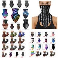 Американский флаг Tie-краситель Волшебный тюрбан дизайнер маска для лица на открытом воздухе верхом маска маска пыли в маске висит ухо треугольник треугольник XD23710