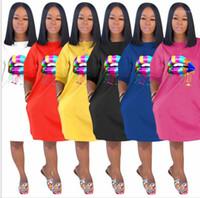 Abiti femmine colore solido di modo casuale Labbra vestiti delle donne di 3D Printing maglietta Summer Dress Designer girocollo slaccia più