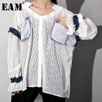 WG75500 [EAM] Mujeres White Denim riza el tamaño grande de la blusa Nuevo V-cuello de manga larga camiseta Holgado marea de la moda de primavera y verano 2020