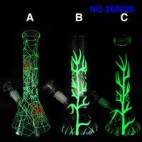 الأنابيب المائية الزجاجية بونغ توهج في الظلام الأخضر 10.5 بوصة أنابيب التدخين الزجاج مع النسر الزجاجي 14 ملليمتر الزجاج و عاء شحن مجاني ZZ