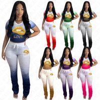 Kadınlar Dudaklar Eşofman Tasarımcı Mektupları T Gömlek Mahsul Tops ve Ruffled Pantolon Kıyafet İki adet Pantolon Suit Moda Renkli Gradient Suit D71610