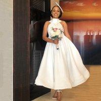 Afrika Aso Ebi Uzun Gelinlik Modelleri AYDINLATMA Halter Boyun Balo Saten Plaj Boho Çay Boyu Wedding Guest Elbiseler C38