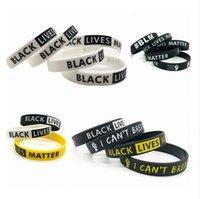 Lives Noir Matter Wristband Je ne peux pas respirer Bracelet en silicone Peace Parade Femmes Hommes en caoutchouc Lettre Wristband Bangles LJJP250