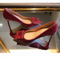 Moda Kadınlar Altın Gümüş Kırmızı Muhteşem Yapay elmas payetli Gelin Düğün Ayakkabı Boyut 34 Tradingbear 41 için Yüksek Topuklar Ayakkabı