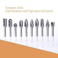 ATOPLEE 10pcs 1/8 Zoll Schaft Tungsten Stahl VHM Rotary Files Diamantschleifer Set Passend für Drehwerkzeug für Holzbearbeitungs Drilling Carving