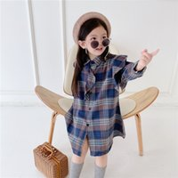 INS Spring Autumn Kids Little Girls Plaid Dresses High- end F...