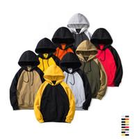 Mens Casual Nueva chaqueta con capucha de color de contraste de Hip Hop de Calle Primavera capucha monopatín mujeres suéter sudaderas