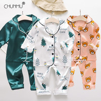 Комплекты одежды Детская пижама набор весна детские мальчик девушка одежда вскользь спать детские мультфильм топы + брюки малыш