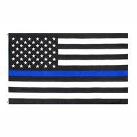 علم الولايات المتحدة الأمريكية المصنع مباشرة 3x5Fts بالجملة 90cmx150cm الموظفين المكلفين بإنفاذ القانون USA الولايات المتحدة الأمريكية الشرطة رقيقة الخط الازرق العلم EEA1786