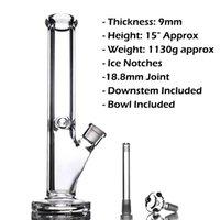 35 cm Cam Bongs Nargile Yağ Teçhizatı 9mm Kalın Düz Bipbal Klasik Tasarım Su Boruları Süper Sigara Aksesuarları ile Süper Ağır