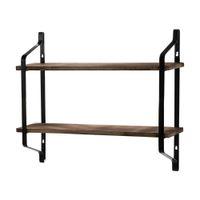 2 طبقات رفوف العائمة جدار رفوف الجدار الصناعي الخشب تخزين الجرف الحمام المطبخ غرفة المعيشة