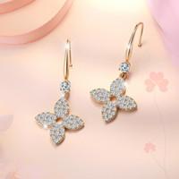 S1537 gioielli di moda hot s925 argento post quattro orecchini trifoglio a foglia a quattro zampe semplice scava fuori nicchia design danghi orecchini