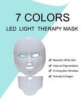 2020 الجديدة 7 ألوان الصمام الخفيفة الجمال العلاج الوجه العناية بالبشرة الوجه التبييض آلة العلاج بالضوء الرقبة PDT بقيادة قناع